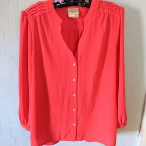 Anthropologie Vanessa Virginia Coral Blouse Size 6